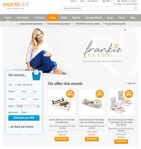 Exante Diet website UK
